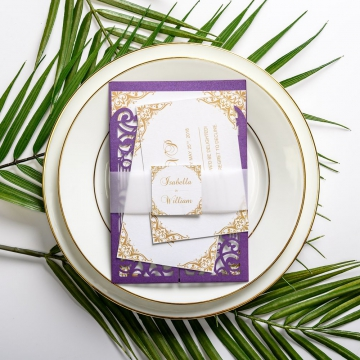 Violet purple gate laser cut wedding invitations, vellum belly band with tag, art deco design, thank you & rsvp cards ws049