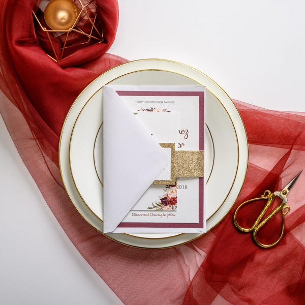 Burgundy And Gold Watercolor Wedding Invitations With