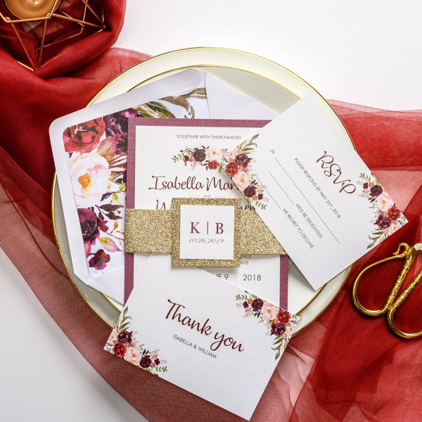Burgundy And Gold Watercolor Wedding Invitations With Belly Band