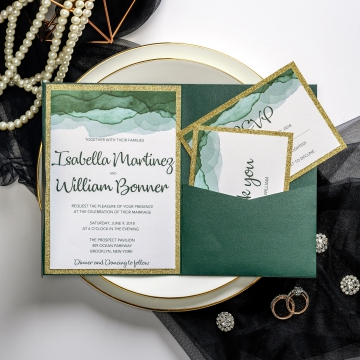 Emerald and gold pocket wedding invitations, watercolor wedding invitations, vintage classic invitations, spring, fall, winter ws046