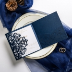 Navy blue laser cut wedding invitations, pocket wedding invitations ws047