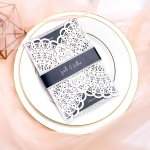 White Laser Cut Wedding Invitations Elegant with Black Belly Bands, Fall & Winter, Vintage, Silver Glitter