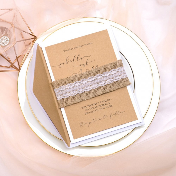 Cheap Country Wedding Invitations: Rustic Cheap Kraft Wedding Invitations With Burlap And