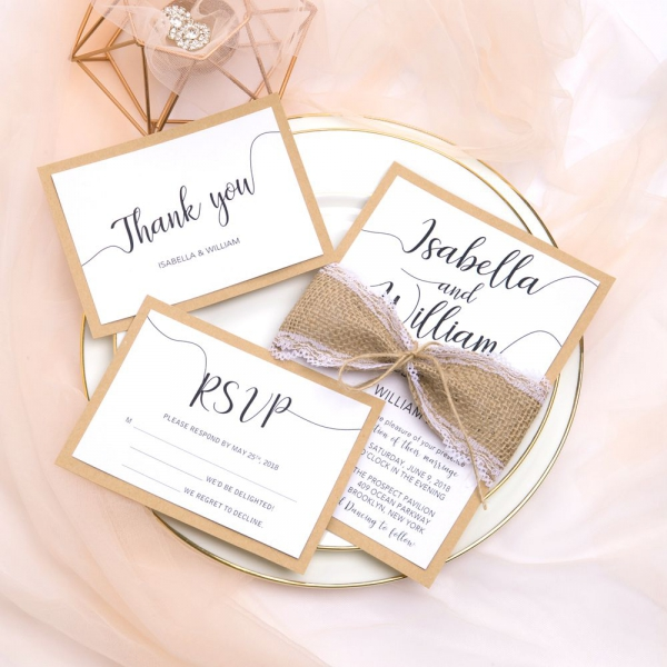 Rustic Wedding Invitations With Burlap Lace Belly Band And Twine Kraft Paper Country Weddings Handmade Ws057