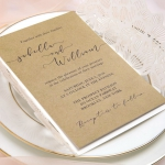 White Laser Cut Wedding Invitations Elegant with Twine, Affordable Rustic Invites, Floral Laser Cut, Simple Set, Kraft Paper WS058