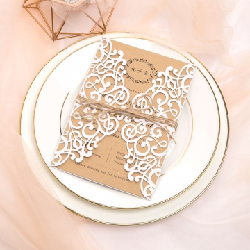 Simple Pearl White Laser Cut Wedding Invitations with Twine, Affordable Rustic Invites, Monogram, Elegant Invites Floral Design, Country, Woodland WS060