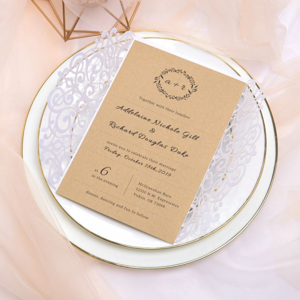 Simple Pearl White Laser Cut Wedding Invitations With Twine Affordable Rustic Invites Monogram Elegant Fl Design Country Woodland
