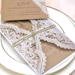 Elegant Vintage White Laser Cut Invites with Twine, Rustic Invitations WS063