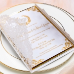 Ivory White Laser Cut Wedding Invitations with Gold Ribbon, Foil Invites, Elegant Fall Wedding Invitations, Vintage Wedding Invitations, Monogram, Gold Mirror WS051