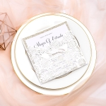 Classic Ivory White Laser Cut Wedding Invitations with White Ribbon, Square, Pocket Fold, Champagne Gold Glittery Backer, Luxurious, Classic, Elegant Wedding Invites WS052