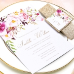 Blush pink floral wedding invitations with gold glitter belly band and tag, Watercolor invites, Boho weddings, Spring and summer wedding ideas, Rustic weddings, Elegant weddings WS053