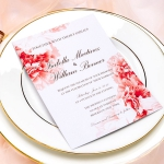 Elegant red peony wedding invitations with blush pink ribbon, Rustic weddings, Watercolor invites, Boho invites, Spring summer WS064