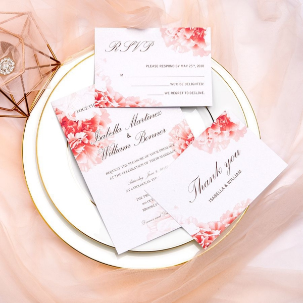 Red And Pink Wedding Invitations: Elegant Coral Pink Wedding Invitations With Pink Ribbon