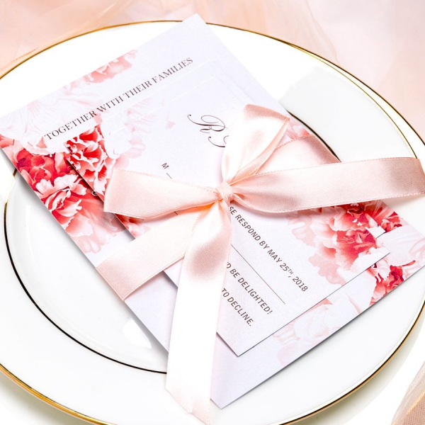 Red And Pink Wedding Invitations: Elegant Red Peony Wedding Invitations With Blush Pink