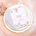 Elegant pink floral wedding invitations with blush ribbon and monogrammed tag, Spring and summer wedding ideas, Rustic weddings, sweet 16th  WS055