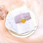 Vellum transparent wedding invitations with gold wax seal and shimmer twine, Mauve purple watercolor invites for summer, Gold foil, Spring wedding, affordable wedding invitations, Marble envelope WS061
