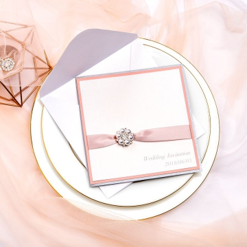Blush pink elegant invites, Gray inside, Pocket fold, Classic, Vintage,  Silky belt, Chic pearls, Thank you &RSVP cards WS062