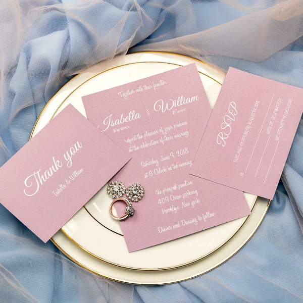 Elegant Inexpensive Wedding Invitations: Simple Mauve Invites, Fall Weddings, Spring Weddings