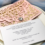 Blush Pink pocket wedding invitations with diamante, gold glitter lining, elegant laser cut wedding invitations, affordable invites, classic, spring, fall WS067