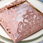 Romantic blush pink laser cut wedding invitations with gold glitter belly band and tag, elegant wedding invitations, vintage, classic, square, graduation cards, anniversaries WS068