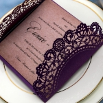 Rustic purple wedding invitations with ivory ribbon, laser cut, elegant wedding invitations, bridal shower invitations, cheap wedding invitations, Kraft paper, country WS070