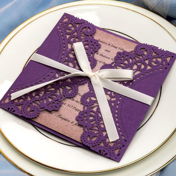 Cheap Wedding Invitation Paper: Rustic Purple Wedding Invitations With Ivory Ribbon, Laser