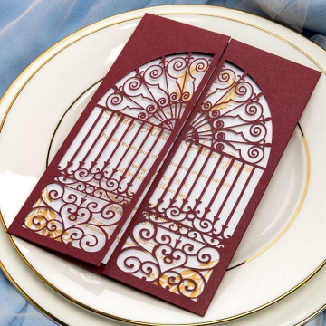 Vintage burgundy gate wedding invites, classic laser cut, gold foil invites, fall, winter, royal wedding invites, monogram, elegant invites WS071