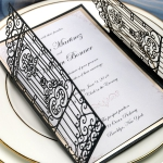 Vintage black gate laser cut wedding invitations, gold mirror backer, elegant wedding invitations, fall or winter WS073
