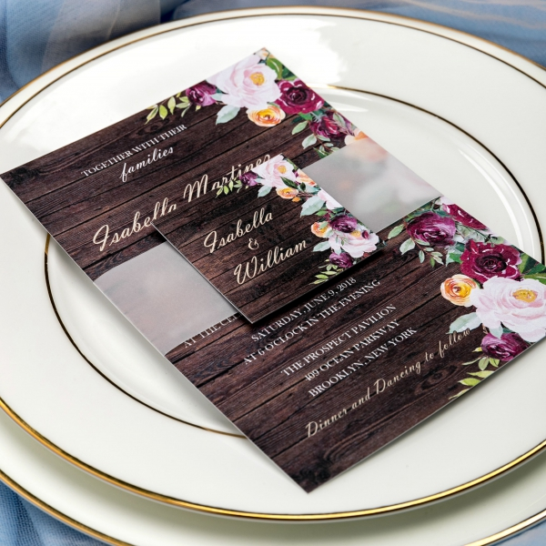 Winter Wedding Invitations Cheap: Cheap Rustic Wedding Invitations, Vellum Belly Band With