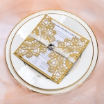 Elegant luxurious gold wedding invitations with diamante and silky ribbon, laser cut wedding invitations, affordable invites, vintage wedding invites, custom invites, square WS075