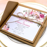 Cheap rustic wedding invitations with twine, handmade, Kraft, blush watercolor floral, Bohemian, garden, country, spring, fall WS076