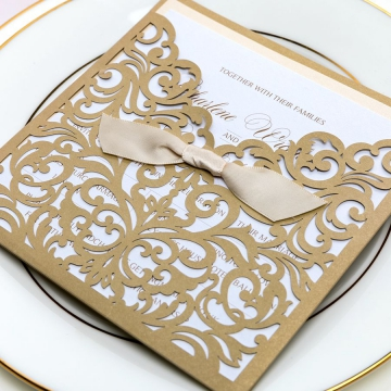 Cute and elegant gold laser cut wedding invitations with ivory ribbon, pocket fold invites, classic, luxurious, fall weddings, spring, winter, affordable invites, formal WS077