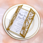 Luxurious metallic gold glitter gate laser cut wedding invitations, classic, custom invites with gray ribbon, fall winter WS078