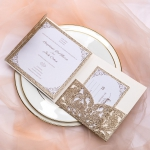 Classic champagne gold glitter laser cut wedding invitations, fall wedding invitations, pocket invitations, elegant wedding invitations, RSVP cards WS079