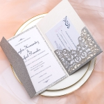 Elegant Silver Pocket Wedding Invitations, Laser Cut Invites with Navy Blue Ribbon, Fall/Winter Wedding, Royal Wedding, Classic Vintage, Silver lining WS083