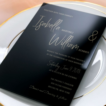 Glassy  Black Acrylic Wedding Invitation?Gold Foil Transparent Wedding Invitations, Formal Weddings, Fall and Winter WS085