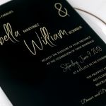 Clear Black Acrylic Wedding Invitation,Gold Foil Transparent Wedding Invitations, Formal Weddings, Fall and Winter WS085