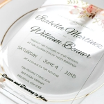 Floral Acrylic Wedding Invitation, Transparent Wedding Invitations, Rustic Wedding invitations, Elegant Invites, BOHO Weddings, Spring and Summer, Garden WS089