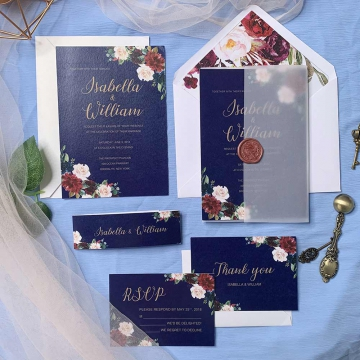Navy blue and burgundy floral wedding invitations, watercolor wedding invitations, spring, fall, winter, vellum invites  WS092