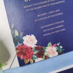 Navy blue and burgundy floral wedding invitations, watercolor wedding invitations, spring, fall, winter, vellum invites