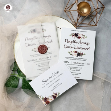 Blush and burgundy vellum wedding invitations, floral wedding invitations, wax seal, spring summer and fall weddings, elegant wedding invitations WS093
