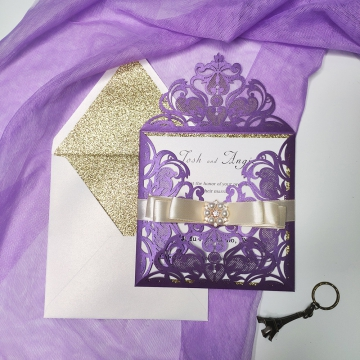 Purple and gold laser cut invitation, belly band with pearls, elegant wedding invitation, classic WS098