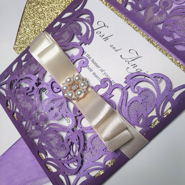 Gold And Purple Wedding Invitations: Purple And Gold Laser Cut Invitation, Belly Band With