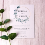 Boho greenery invitation, rustic invite, minimalist invite, spring, garden, cheap wedding invite WS099