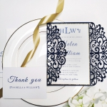 Navy blue and gold laser cut wedding invitations, classic, romantic, spring fall and winter WS102