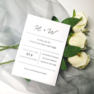 Minimalist wedding invitations, romantic and elegant, rustic wedding invite, simple and modern, cheap invite. WS104