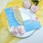 Yellow and dusty blue laser cut wedding invitation, elegant wedding invite, beach wedding, summer wedding, spring WS106