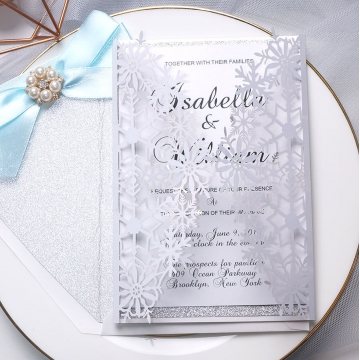 Silver and white laser cut invitation, turquoise ribbon, spring and summer, winter, wonderland, whimsical WS109