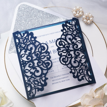Navy blue and silver invitation, laser cut invite, classic, spring, fall, winter, elegant, belly band & tag WS110