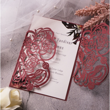 Classic burgundy laser cut wedding invitations, elegant wedding invite, fall, winter WS113